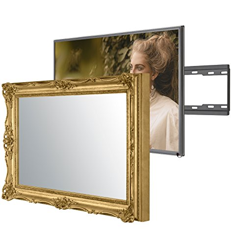 Handmade Framed Mirror TV with LG 32LH604V to Blend this Hidden Mirrored Television into Your Home or Business Decor (32 Inch, Surrey Gold)