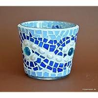 Handgefertigtes Windlicht Tiffany blau Perle 8 cm hoch