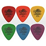 Dunlop Tortex - Standard Plectrum Set (Pack of 6) - 0.5 - 1.14 mm - 1 of each 0.50mm Red, 0.60mm Orange, 0.73mm Yellow, 0.88mm Green, 1.00mm Blue, 1.14mm Purple