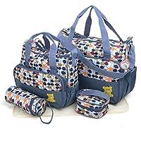 Babyhugs® 5pcs Bebé Pañales Cambiar Pañales Messenger Hospital Maternidad Bolsa Set con diseño de impresión de hojas, color gris
