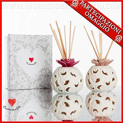 Cuorematto - profumatori d'ambiente tondeggianti con decori in porcellana bianca e fiore rosa, bomboniere nozze, battesimo, comunione, con scatola regalo inclusa (grande-con confezione rosa)