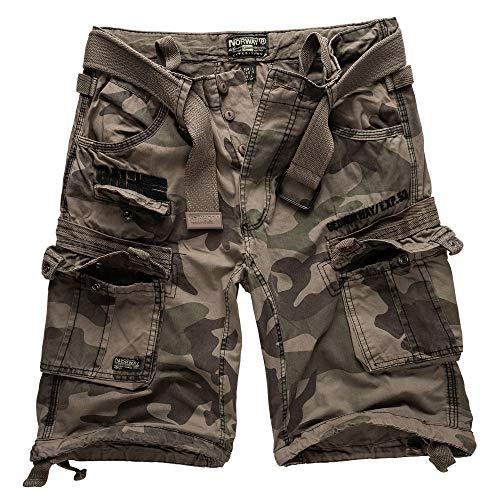 Camo Short (Geographical Norway Cargo Shorts Kurze Hose Bermuda mit Gürtel Short Hunter im Bundle mit UD Bandana (XXL, Black Camo))