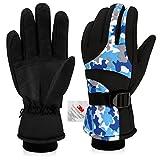 Skihandschuhe, YEENOR Damen Herren Handschuhe Winter Warm Wasserdicht Winddicht Bunt Thermo für Snowboard Motorrad Fahrrad Radsport Arbeit Extreme Kälte (Blau)