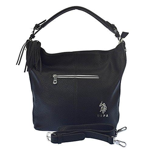 U.S.POLO ASSN. Handtasche mit Schulterriemen Vordere Reißverschlusstasche 32-47x14x35 cm