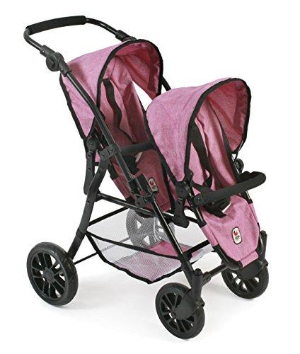 """Preisvergleich Produktbild Bayer Chic 2000 691 70 - Tandem-Buggy """"Twinny"""", Zwillingspuppenwagen für Puppen bis ca. 50 cm, Jeans Pink"""