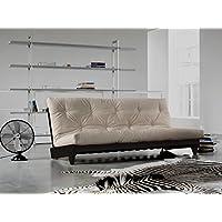 KARUP - FRESH, pratico divano e letto, futon ecru su struttura in legno tinto wengè