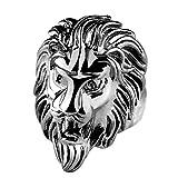 AZUO Herrschsüchtig Männer Edelstahl Lionhead Ring Ring Persönlichkeit Titanstahl König Der Löwen Ring Zubehör,Silver,M