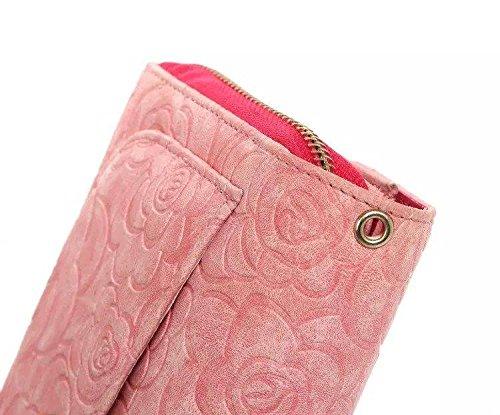 Pour iPhone 5C Coque, iNenk® PU Cuir Universal Portefeuille Multifunction Téléphone Coque Carte Cordon Mode Housse protection diamant Couronne Couverture Pour femmes-Bleu Rose