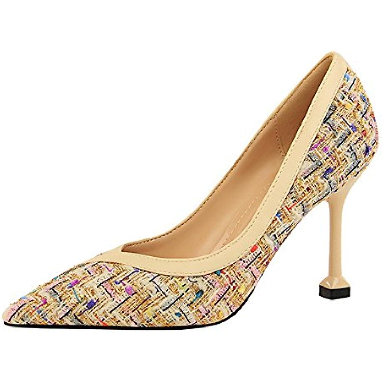 Ladies Sexy Nightclub Tacco Blto Tacco B Spillo Colorblock Slip Donna Formale Court Shoes Slip Colorblock Pointed Close Toe Sandali... Parent -Buon rapporto qualità-prezzo, vale la pena avere a97551