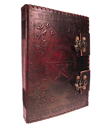 Carnet d'écriture en cuir rouge avec deux fermetures, médiéval, occult, witch