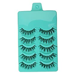 Magideal 5 Pairs Beauty Makeup Handmade Messy Cross Style False Eyelashes Green