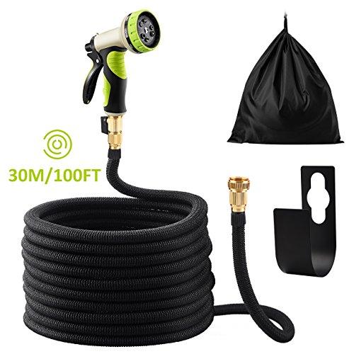 Omorc Flexibler Gartenschlauch, Gartenschlauch 100FT-30M, FlexiSchlauch Hochwertiges Spiralgewebe Schlauch mit 9 Funktion geeignet für Bewässerungsanlagen, Reinigung, Autowäsche, Duschen Schwarz