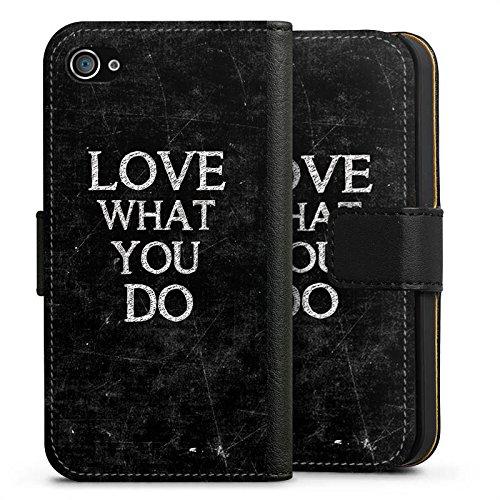 Apple iPhone X Silikon Hülle Case Schutzhülle Love Liebe Sprüche Sideflip Tasche schwarz