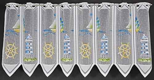 Scheibengardine Leuchtturm 45 cm hoch | Breite der Gardine durch gekaufte Menge in 28,5 cm Schritten wählbar (Anfertigung nach Maß) | Blau Grün Gelb | Vorhang Küche Wohnzimmer