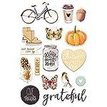 Prima Marketing Amber Moon-Puffy Stickers, Brown, Orange, Yellow, Black