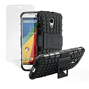SHIELD Armor Case For Motorola Moto G (2nd Gen), Dual Layer Kick Stand Hard Back Cover With Free Screen Protector (Black) - Retail Packaging