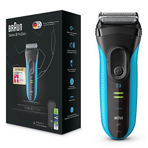 Braun Series 3 Fußball Team Edition 2018 ProSkin Elektrischer Rasierer, Wet und Dry mit Reiseetui, Reinigungsbürste und Gillette Rasiergel, blau