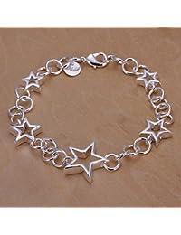 joyliveCY - Pulsera de mujer, bañada en plata, transversal, redonda, 5 esqueletos, diseño de corazón
