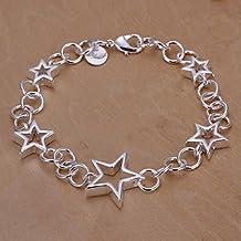 Pulsera de mujer de joyliveCY, bañada en plata, unión por anillas con 5 corazones más grandes