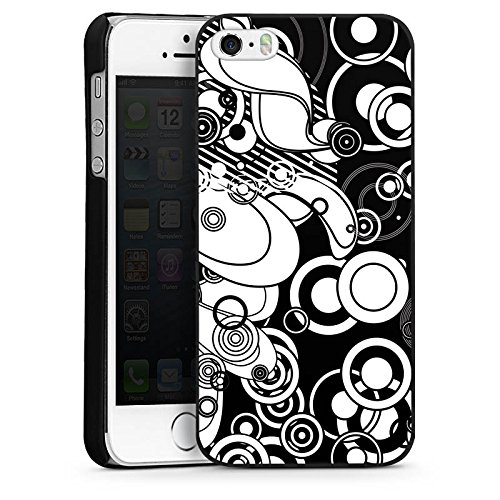 Apple iPhone 4 Housse Étui Silicone Coque Protection Motif Motif Cercles CasDur noir