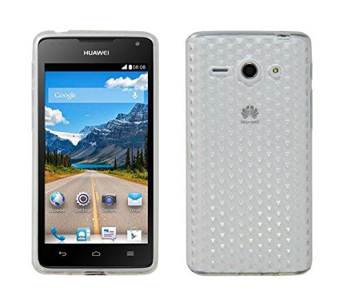 Luxburg® Diamond Design Schutzhülle für Huawei Ascend Y530 in Farbe Bergkristall Weiß, Hülle Case aus TPU Silikon