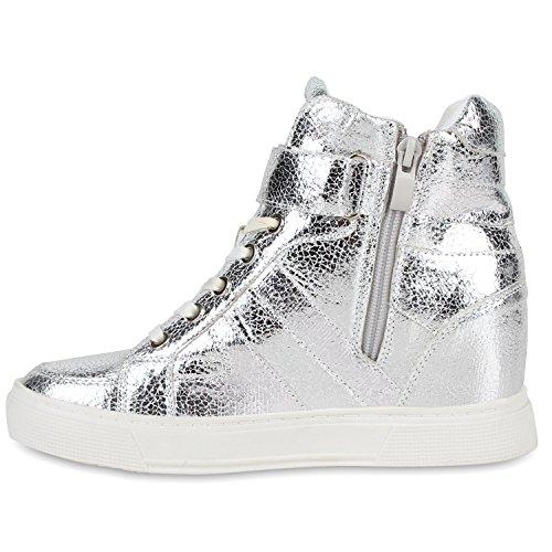 Damen Sneaker-Wedges Metallic Bequeme Sneakers Keilabsatz Silber