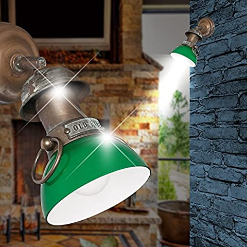 Maritim Wall Spotlight 1-Flame/Radiant Green, Patinated Cast Aged Brass