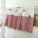 HongYa Bestickte Kleinfenster Küche Gardine Scheibengardine Cafe Vorhang mit Karo-Muster H/B 90/90 cm Rot