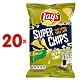 Lays Super Chips Salt'n Pepper 20 x 145g Karton (Riffel Chips Salz & Pfeffer)