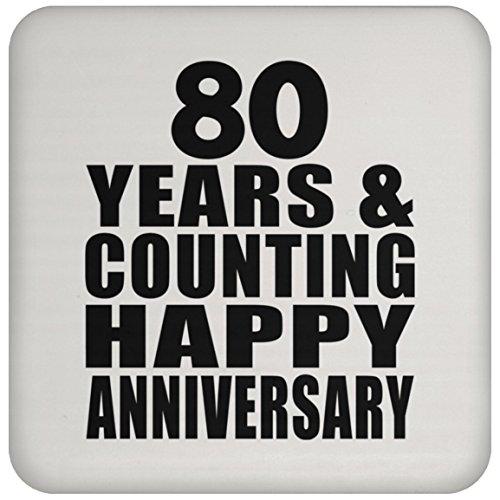Happy 80th Anniversary 80 Years & Counting - Drink Coaster Untersetzer Rutschfest Rückseite aus Kork - Geschenk zum Geburtstag Jahrestag Muttertag Vatertag Ostern (Bday 80th Ideen)