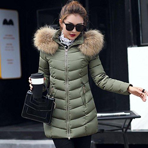 Manteau à Capuche Femme,LMMVP Mode Solide Femmes Occasionnels Plus Epais Manteau d'hiver Slim Down Veste Pardessus Poche zippée armée verte