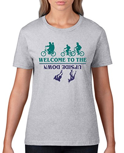 Comedy Shirts - Welcome to the upside down - Stranger Things - Damen T-Shirt - Graumeliert / Türkis-Lila Gr. M