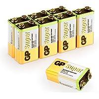 GP Batteries 9v Batterien, 9Volt Block (6LR61, MN1604) Spannung: 9 Volt Super Alkaline , geeignet für vielseitige Anwendungen (8 Stück Blockbatterien)
