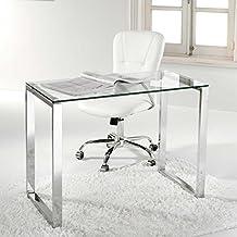 Adec - Mesa de estudio benetto, medidas 50 x 100 x 75 cm, color transparente y acero