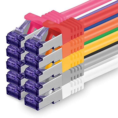 1aTTack.de 361985 Cat.7 Netzwerkkabel Kabel Cat 7 Set - 0,25m - 10-Farben - 10 Stück - Cat7 Patchkabel (SFTP PIMF LSZH) Rohkabel 10 Gb/s mit Rj 45 Stecker Cat.6a - 10 x 0,25 Meter 10-Farben -