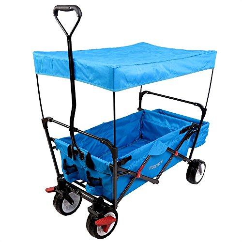 FUXTEC faltbarer Bollerwagen FX-CT350 türkisblau klappbar mit Dach, Vorderrad-Bremse, Strand-Reifen, Hecktasche, für Kinder geeignet - Das Original mit Qualität!