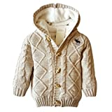 YuanDian Bambino Giacca del Cappotto di Inverno Maglione Caldi Spessi Cappuccio Cachi 88 (80-90CM)