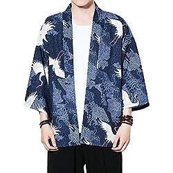 Zhhlaixing Moda Hombres Verano Delgado Cloak Open Front Kimono Jacket Juventud Casual Manga 3/4 Loose Short Capa
