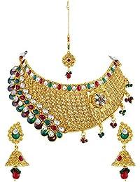 Asmitta Charming Kairi Design Gold Plated Choker Style Necklace Set With Mangtikka For Women