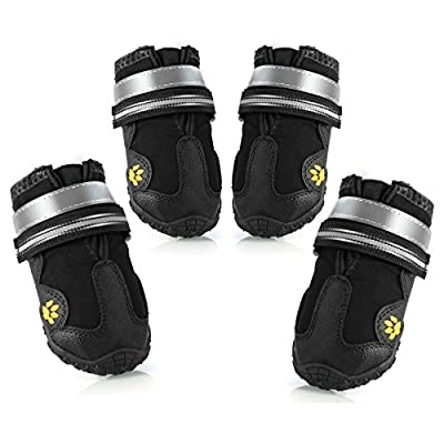 Petyoung Waterproof Dog Boots,Pet Outdoor Running Shoes,Dog Rain Shoes with Reflective Tape Rugged Anti-Slip Sole Shoes for Medium to Large Dog Labrador Husky-4PCS by Petyoung