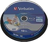 Verbatim 43804 25GB 6x BD-R SL Datalife Wide Inkjet Printable 10 Pack Spindle