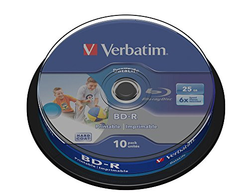 Verbatim 43804 25GB 6x BD-R SL Datalife Wide Inkjet Printable 10 Pack Spindle Test