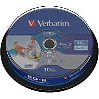 Verbatim Blu-ray Disc BD-R SL mit 25 GB, 6-fache Brenngeschwindigkeit, langlebige Rohlinge, zum Daten sichern und brennen, 10 Stück (Spindel), 43804