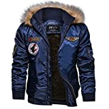 Riou Herren Bomberjacke Winterjacke Winter Baumwolle Militär Jacken Pocket Tactical Verdicken Übergangs Mäntel Draussen Windbreaker Hochwertig Fliegerjacke (2XL, Blau D)