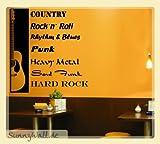 Wandtattoo Gitarre Country Rock Heavy Metal Punk - Soul Funk... Farbe: Phthaloblau (Stahlblau)