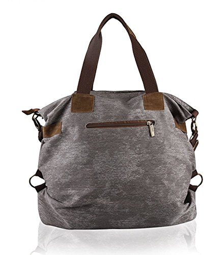 UUstar® Frau vintage Schultasche Canvas Handtasche Rucksack Groß Umhängetasche Reisetasche Ipad Kameratasche Schule Tasche Sales Outlet (Grau.) - 3