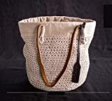 LZH Ursprünglicher Entwurf Reiner Handgewebter Baumwollschnur Geflochtene Gehäkelte Literarische Fan-Tasche Größe: 35 * 10 * 28cm,White