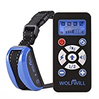 WOLFWILL Collier de Dressage Anti-aboiement Etanche Rechargeable pour Chien en Mode de Bip / Vibration, de Choc Electrostatique et Automatique Ecran LCD