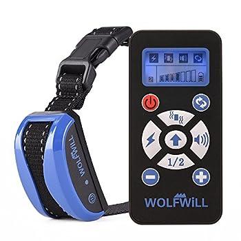 WOLFWILL Collier de Dressage Anti-aboiement Etanche Rechargeable pour Chien en Mode de Bip / Vibration, Automatique Ecran LCD pour Un Chien