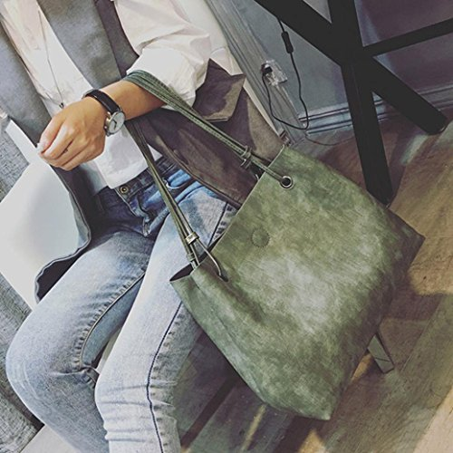 Pu Spalla Borsa, Moda Donna Borsa In Pelle Borsa + Pochette Portafoglio di Kangrunmy Verde